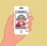 Grandma on the phone Vector Smartphone Royalty Free Stock Photos
