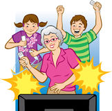 Grandma Playing Video Games. Vector illustration of a grandmother playing video games with her grandchildren. (Words can be placed in starburst like Pow! Winner Royalty Free Stock Image