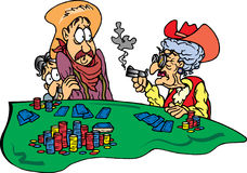 Grandma at Poker Game. Cowgirl Grandma with gun at poker game Stock Illustration