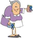 Grandma with prize winning jam. Illustration of an old woman holding 2 jars of jam with prize winning blue ribbons royalty free illustration