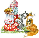 Grandma, rabbit and fox. Cheerful grandmother with plate of pastries, entertaining to hare and fox Royalty Free Stock Photo