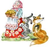 Grandma, rabbit and fox Royalty Free Stock Photo