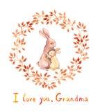 Grandma rabbit hugging her grand kid. Grandparents day greeting card. Watercolor Stock Images
