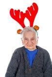Grandma` with a reindeer slide Stock Photos