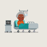 Grandma resting at hospital bed. Stock Photography