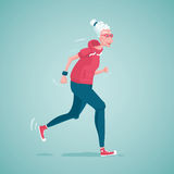 Grandma running. Old lady is running. Isolated vector illustration stock illustration