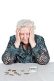 Grandma with Russian money. Royalty Free Stock Photos