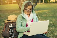 Grandma buying power on the online market. royalty free stock image