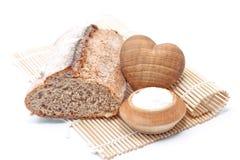 Grandma's freshly baked bread and salt Royalty Free Stock Photo
