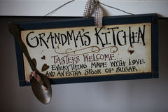 Grandma's Kitchen. Welcome to Grandma's Kitchen sign royalty free stock photography