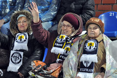 Grandma's support for the Metallurg team Stock Photos