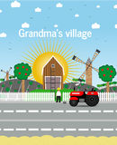 Grandma's village.Vector illustration. Color rural Royalty Free Stock Photography