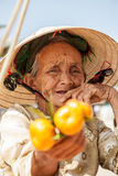 Grandma, the saleswoman fruit stock images