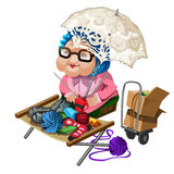 Grandma selling knitted socks. Vector character Stock Photo