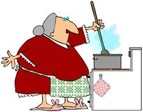Grandma Stirring The Gravy Stock Image
