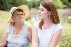 Grandma in straw hat Stock Photos