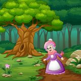 Grandma in street of the forest. Illustration of grandma in street of the forest royalty free illustration