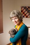 Grandma with a stuffed Koala bear stock image