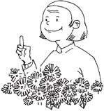 Grandma talking. In front of flowers vector illustration