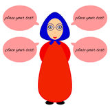 Grandma talking. Young grandmother in a kerchief gives advice Royalty Free Stock Photo