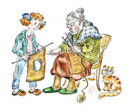 Grandma teaching her granddaughter knitting. Comic illustration Stock Photography