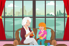 Grandma teaching her granddaughter knitting Royalty Free Stock Images