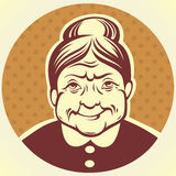 Grandma. Vector portrait of lovely grandmother Stock Images