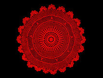 Grandmas antique, red lace tablecloth Royalty Free Stock Images