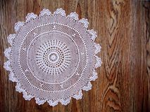 Grandmas antique, white lace tablecloth Stock Photo