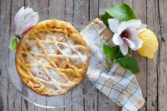 Grandmas Cake. Typical cake from Tuscany, Italy, made with shortbread pastry, ricotta cheese and pine nuts Stock Photo