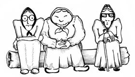 3 grandmas. Caricature illustration of  three east european grandmas Royalty Free Stock Photography