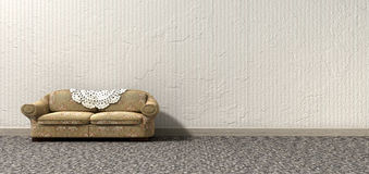 Grandmas Lonely Sofa. An arty look at grandma's lonely vintage sofa and interior of a bygone lonely era Royalty Free Stock Image