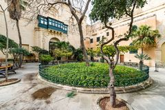 Grandmaster Palace Courtyard. Small garden in Grandmaster Palace Courtyard in Valletta, Malta Stock Photo