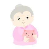 Grandmom save money in piggy bank  Royalty Free Stock Photo