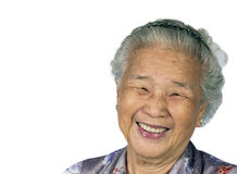 Grandmother-1. My grandmother happy smiling with white background Stock Photo
