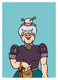 Grandmother. Cartoon artwork line-art with empty balloon Royalty Free Stock Photography