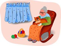 Grandmother&cat lizenzfreies stockbild