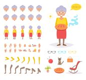 Grandmother for animation. Poses Stock Image