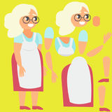 Grandmother in apron. Broken for animation Royalty Free Stock Image