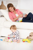 Grandmother with baby grandchild. Smiling Stock Photos