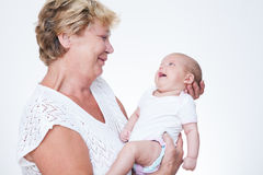 Grandmother and baby stock image