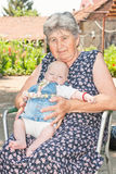 Grandmother and baby portrait Royalty Free Stock Image