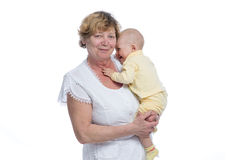 Grandmother with Baby. On White Background Stock Photos