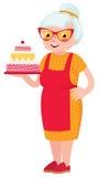 Grandmother baked a cake Stock Photos