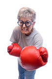 Grandmother Boxing Royalty Free Stock Images