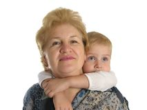 Grandmother with boy 2. Isolated Stock Image