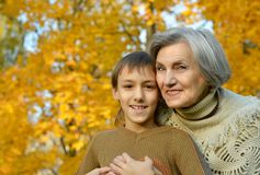 Grandmother with boy Royalty Free Stock Photos