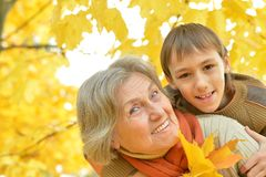 Grandmother with boy in the autumn park Royalty Free Stock Photography