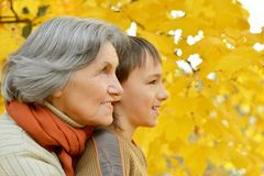 Grandmother with boy Stock Image