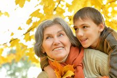 Grandmother with boy Royalty Free Stock Photography